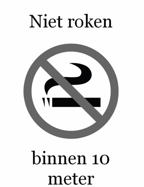 """""""Niet roken""""-bordje (zwart-wit)"""