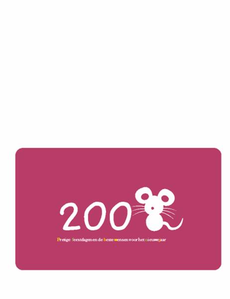 Wenskaart voor de feestdagen (2008, jaar van de rat, in tweeën gevouwen)