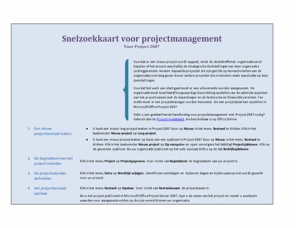 Snelzoekkaart voor projectmanagement (Project 2007)