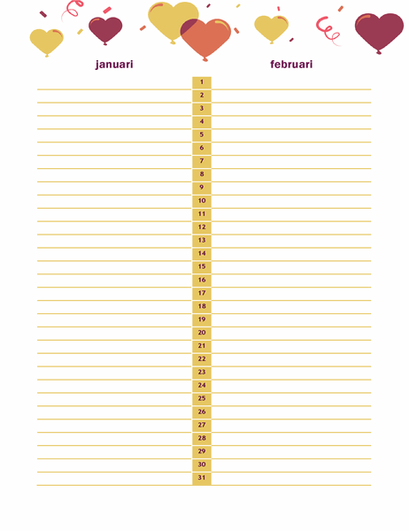 Kalender met verjaardagen en jubileums
