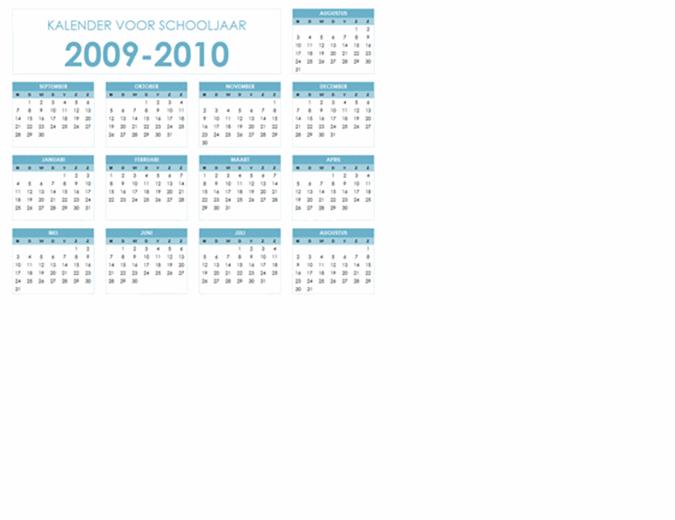Kalender voor academisch jaar 2009-2010 (1 pagina, liggend, ma-zo)