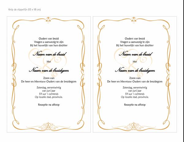 Uitnodigingen voor bruiloft (Ontwerp met hartmotief, A7, twee per pagina)