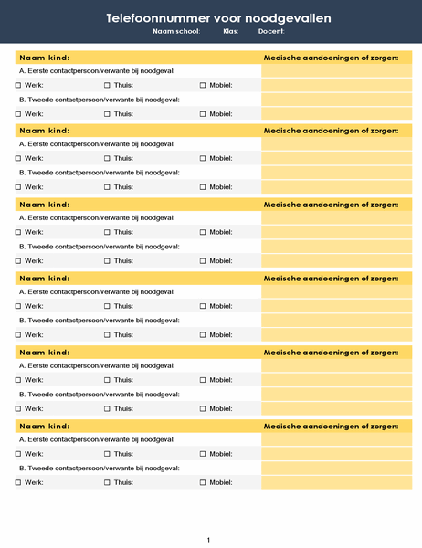 Lijst met telefoonnummers voor noodgevallen