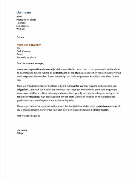 Begeleidende brief voor functionele cv