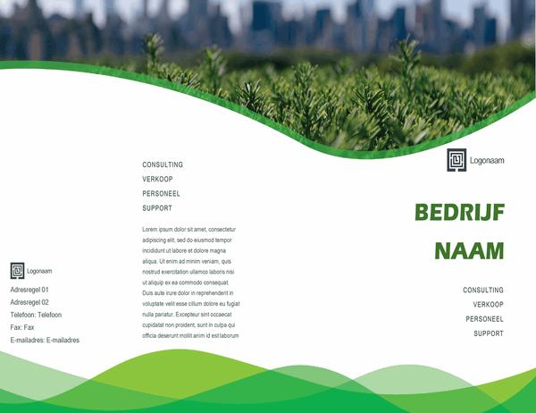 Bedrijfsbrochure (met groen golfontwerp, dubbelgevouwen)