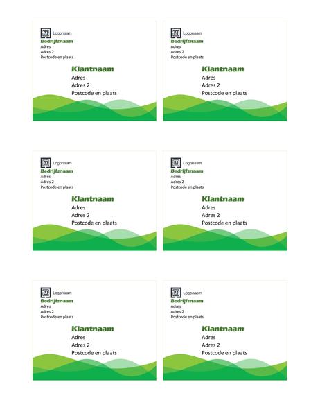 Adresetiketten (ontwerp Groene golf, 6 per pagina)