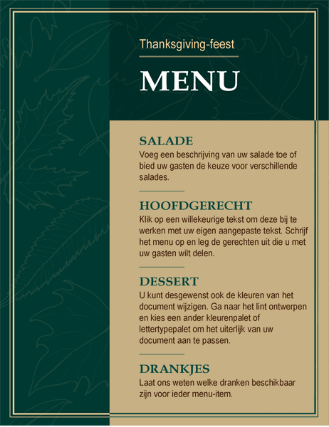 Elegant Thanksgiving-menu