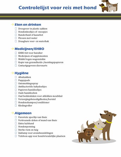 Controlelijst voor reis met hond