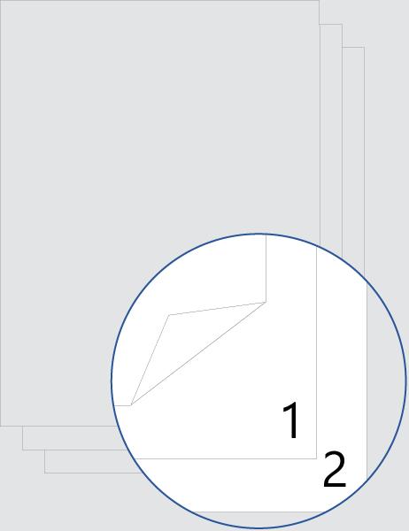 Dubbelzijdige nummering voorblad (onder)