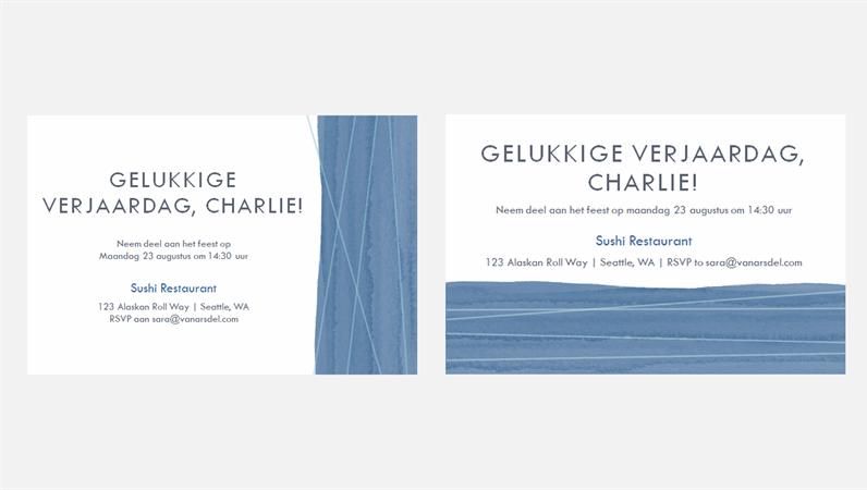 Uitnodigingen voor een feest, met blauw lint (twee per pagina)