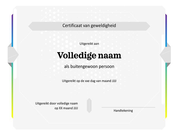 Certificaat van geweldigheid