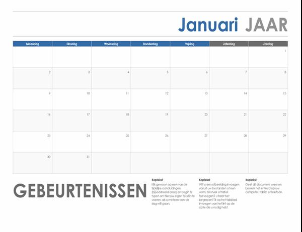 Horizontale kalender (begint maandag)
