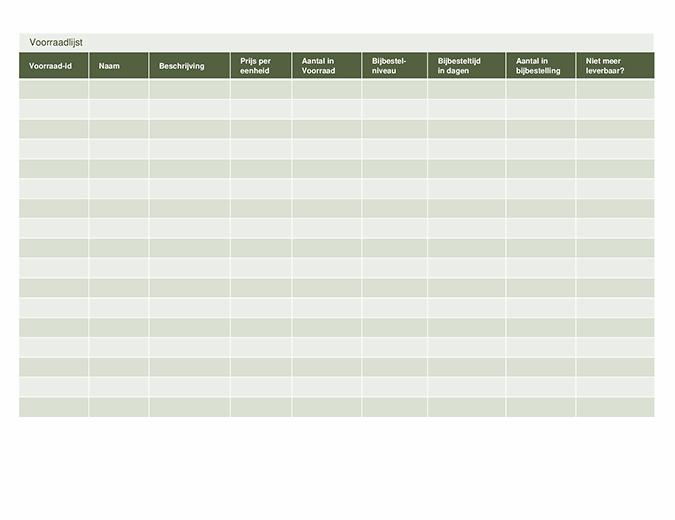 Voorraadlijst