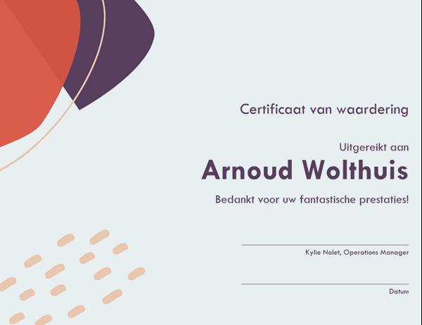 Certificaat van erkenning voor administratief medewerker