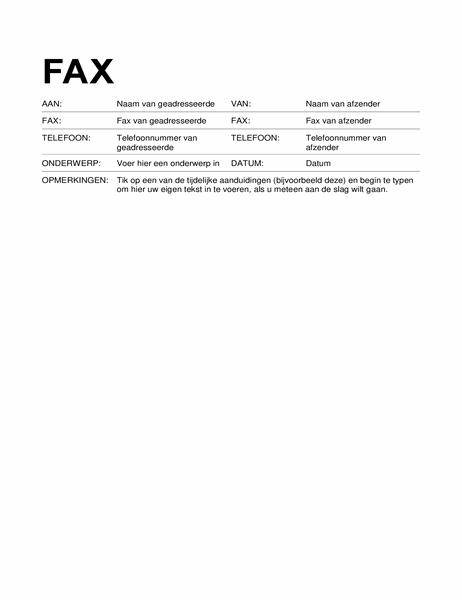 Faxvoorblad (standaardopmaak)