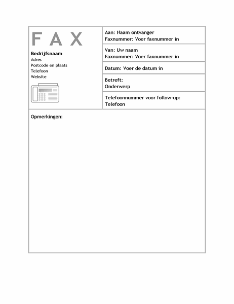 Zakelijke faxvoorblad