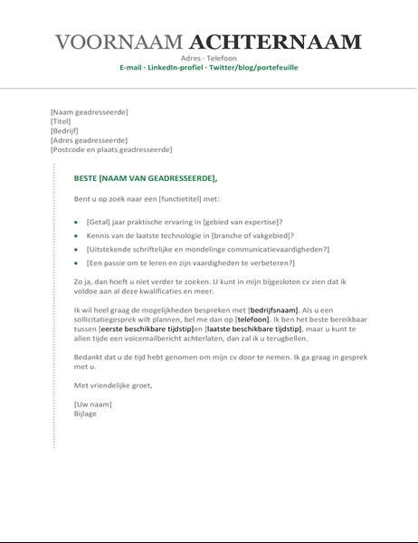 Eigentijdse, chronische begeleidende brief