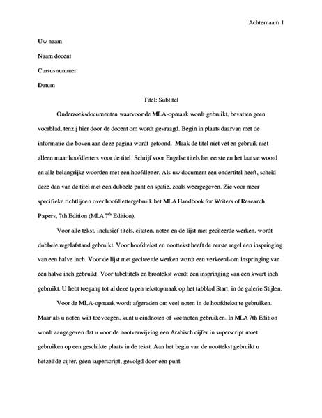 Scriptie in MLA-stijl