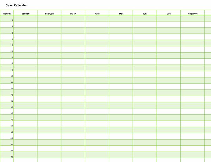 Kalender voor willekeurig jaar (verticaal)