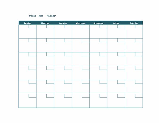 Lege maandkalender