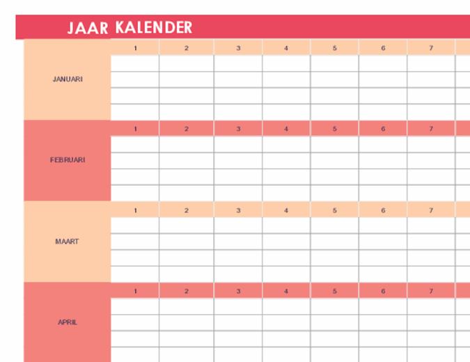 Kalender (willekeurig jaar, horizontaal)