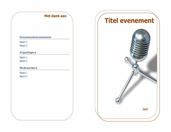 Programma voor evenementen (dubbelgevouwen)