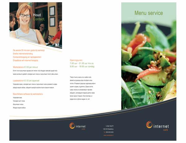 Technologiebedrijf internetcafé menu (in drieën gevouwen)