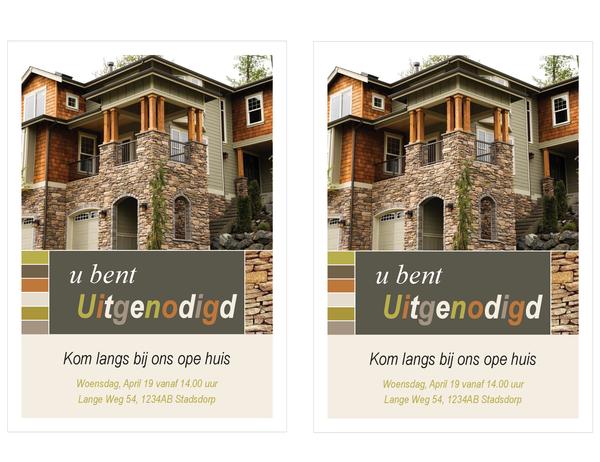 Open huis uitnodiging onroerend goed (2 per pagina)