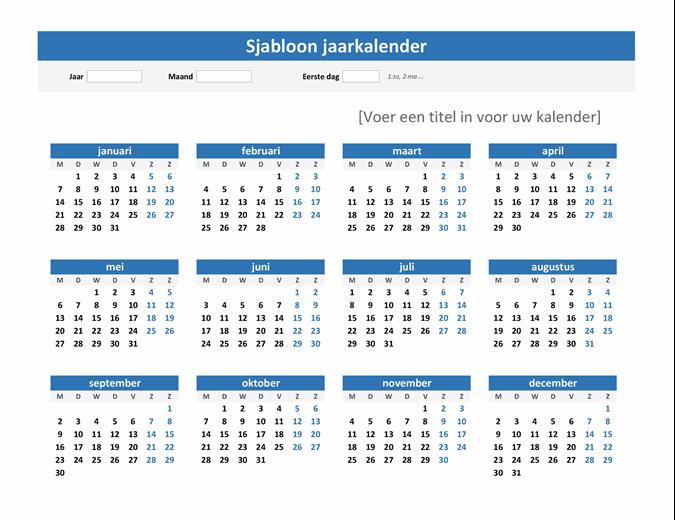 Overzichtelijke jaarkalender (liggend)