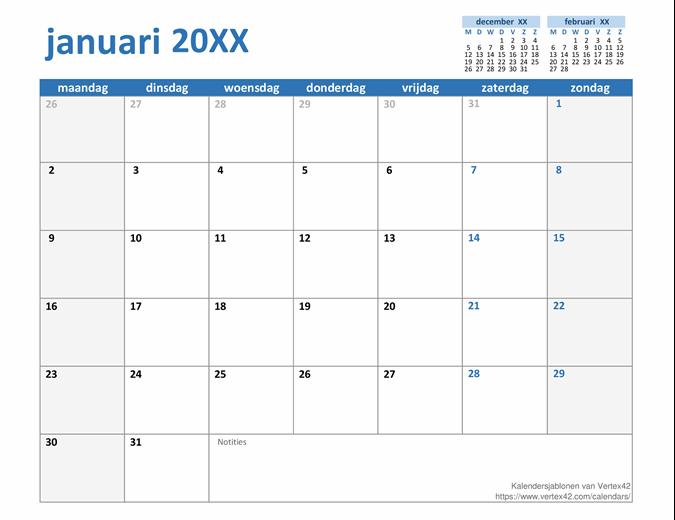 Oneindige jaarkalender