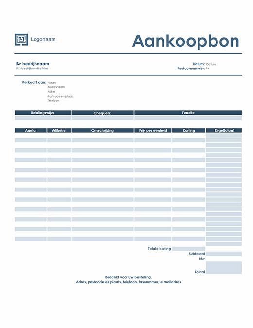 Aankoopbon (Eenvoudig blauw ontwerp)