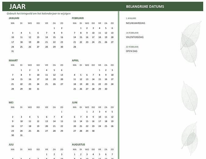 Bedrijfskalender (elk jaar, ma-zo)