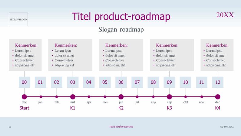 Tijdlijn product-roadmap licht