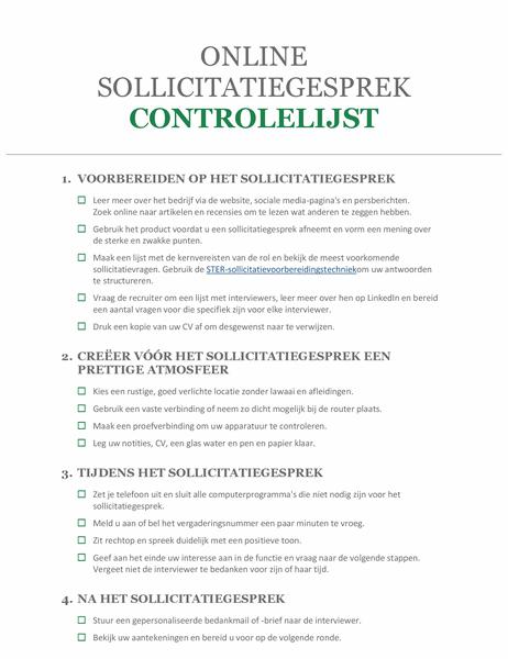 Checklist voor een online sollicitatiegesprek