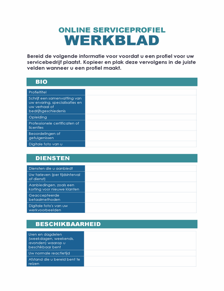 Werkblad online serviceprofiel