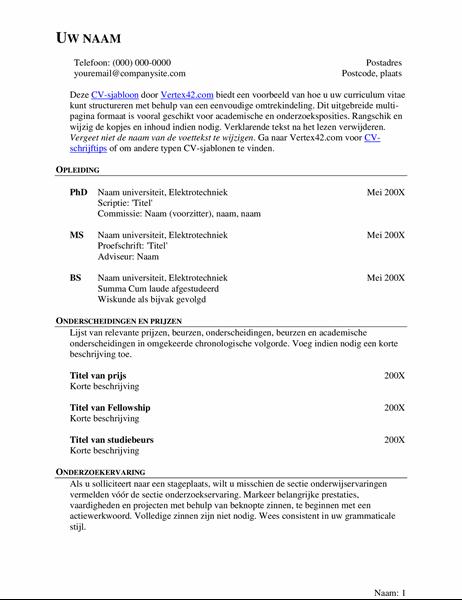 Uitgebreid CV (resumé)
