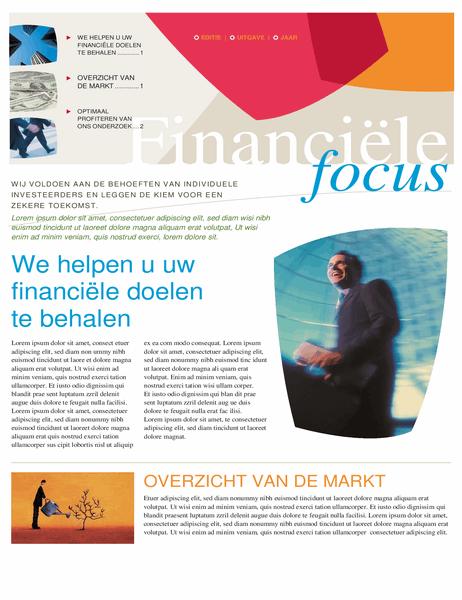 Nieuwsbrief voor financieel bedrijf (2 pagina's)