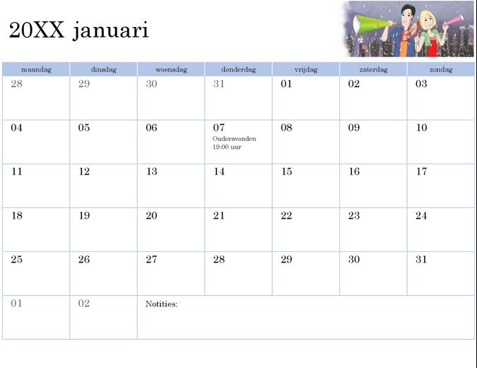 Geïllustreerde schoolkalender