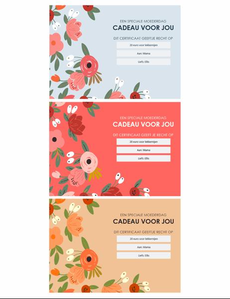 Cadeaubonnen voor Moederdag met elegant bloemenmotief