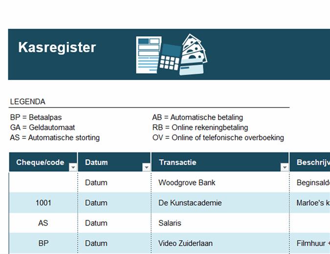 Kasregister met transactiecodes
