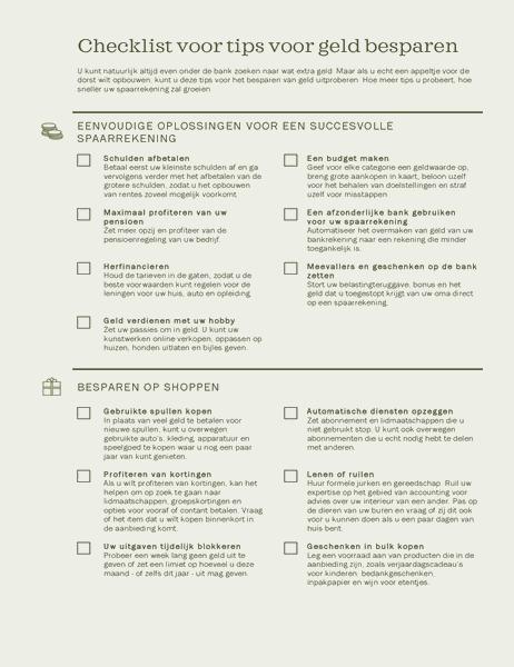 Checklist voor geldbesparende tips