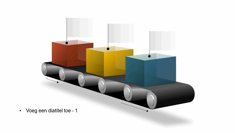 Graphic van lopende band met blokken