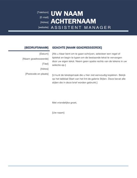 Geordende moderne begeleidende brief