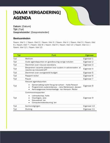 Agenda voor onderwijsvergadering