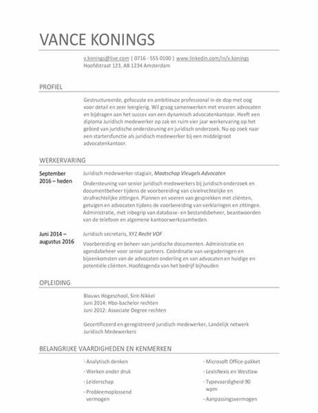 Curriculum vitae voor juridisch medewerker
