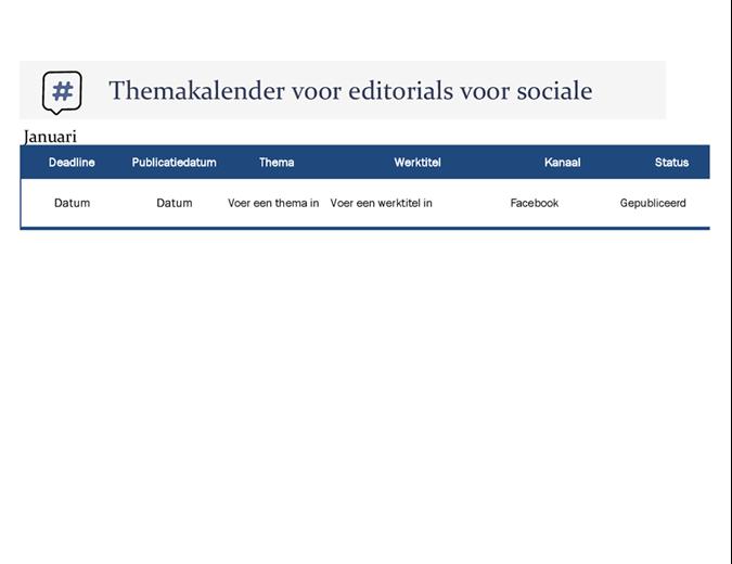 Themakalender voor editorials voor sociale media
