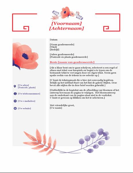 Begeleidende brief met roze bloemen
