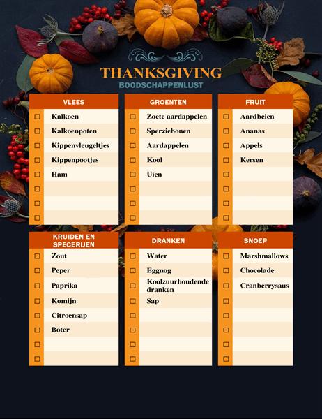 Boodschappenlijst Thanksgiving-thema