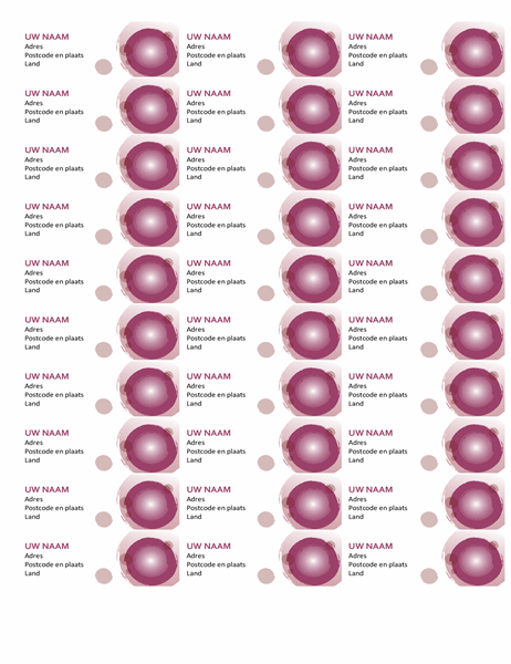 Etiketten met roze suite (30 per pagina)