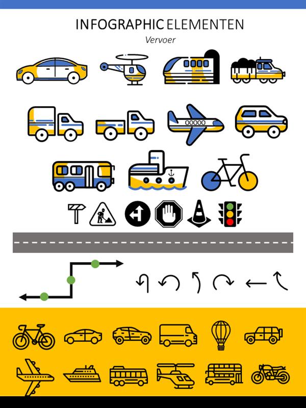 Infographic-elementen voor transport
